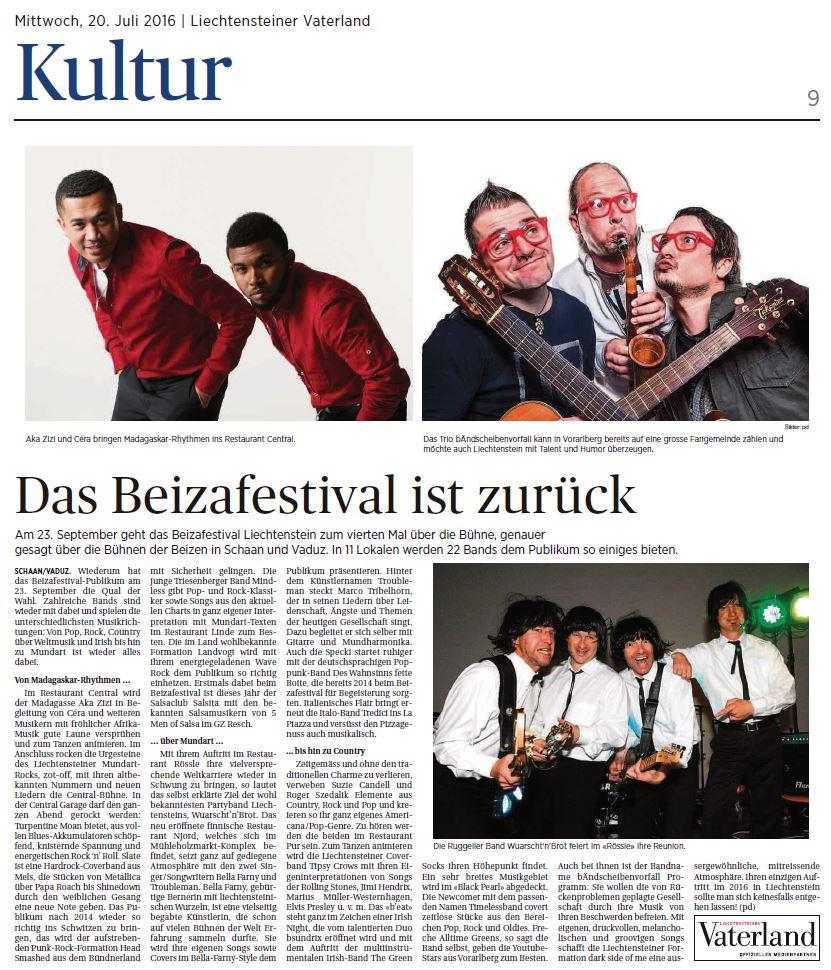 Zeitungsbewricht Vorinfo Beizafestival